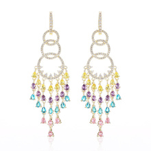 VERY GIRl New Brand 69mm Beautiful Bohemia Cubic Zircon Crystal Tassel Earrings Drop for Women Wedding Jewelry