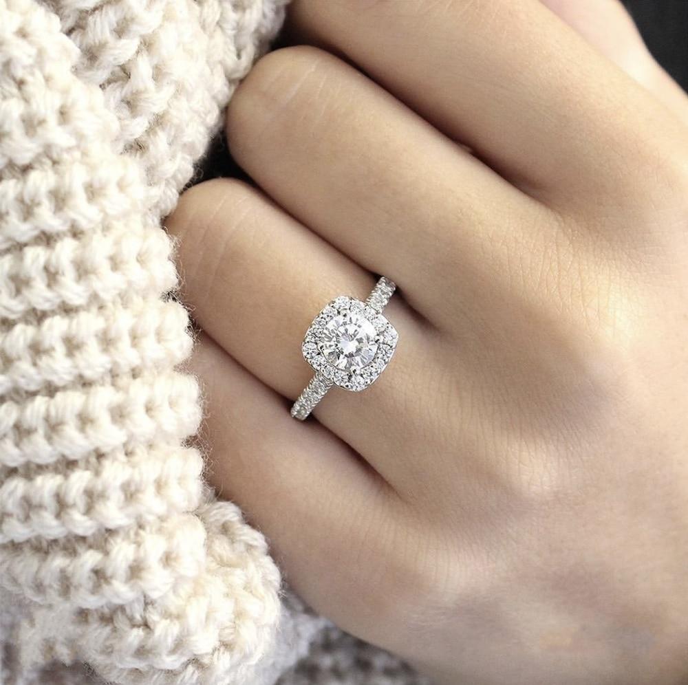 Anéis de prata esterlina 925 eterna, joia fina de dedo inposição 2 diamante carat anel de casamento para mulheres