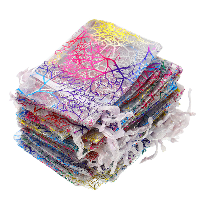 50pcs/set Drawstring Organza Bags Jewellery Packaging Display Wedding Christmas Gift Bag Jewelry Pouches