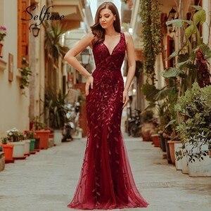 Image 2 - Nouveauté femmes élégantes robes col en v étincelle sirène moulante Maxi robes dété pour fête Vestidos De Fiesta De Noche 2020