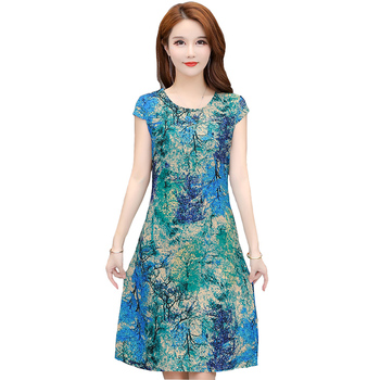Vintage Summer Dress Plus Size Dresses Vestido Print Natural Regular FANMUER Short Sleeve O-neck Straight Casual Cotton Women casual round neck short sleeve plus size denim dress for women