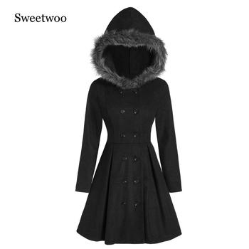 SWEETWOO Fashion Long Medieval Trench Coat Women Winter Black Stand Collar Gothic Elegant Vintage Female 2020