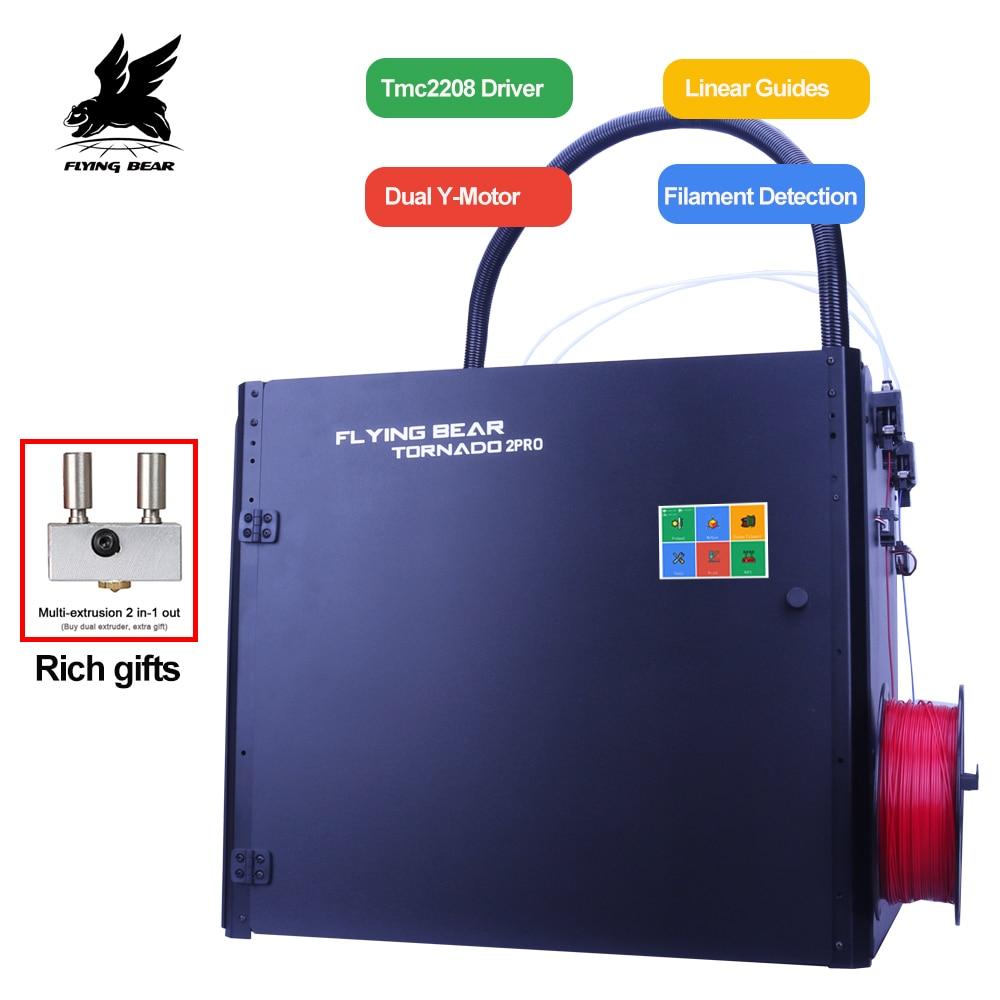 Oso volador Tornado 2 Pro impresora 3d grande DIY completamente de metal lineal carril 3d Kit de impresora de alta calidad extrusora Doble