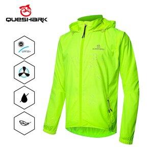 Image 1 - QUESHARK chaquetas de ciclismo a prueba de viento para hombre y mujer, ropa de ciclismo impermeable, camisetas sin mangas de manga larga