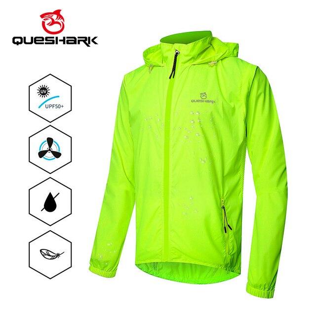 QUESHARK chaquetas de ciclismo a prueba de viento para hombre y mujer, ropa de ciclismo impermeable, camisetas sin mangas de manga larga