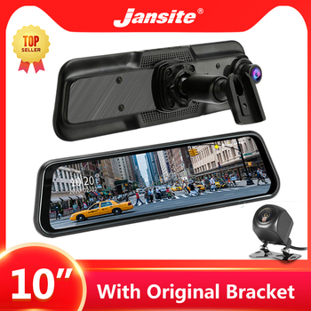 Jansite 10 Car DVR Dash cam Touch Screen 1080P stream media Dual Lens Video Recorders Rear view mirror Rear camera with Bracket 10 car dvr touch screen stream media 1080p hd dual lens recorders rear view mirror backup camera dash cam simple install