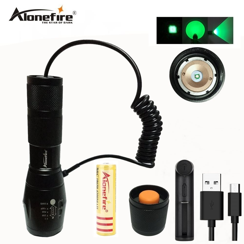 AloneFire E17 Green Light Spotlight Flood Light Zoomable Tactical Hunting Flashlight Torch With Remote Pressure Switch