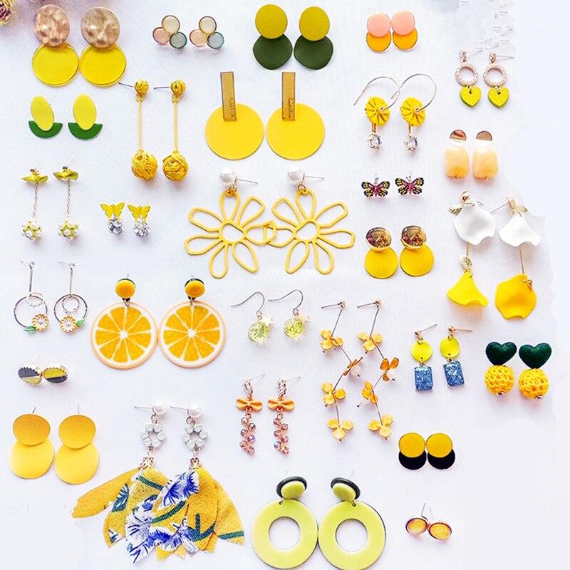 AOMU летние желтые геометрические акриловые нерегулярные цветок лимон серьги гвоздики для женщин Металлические Bump вафли геометрические круг серьги