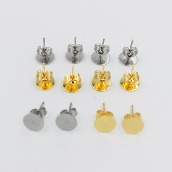 100pcs/lot 50pcs/lot Gold Stainless Steel Blank Post Earring Studs Base Pins With Earring Plug Findings Ear Back For DIY Jewelry 100pcs lot 14d471k