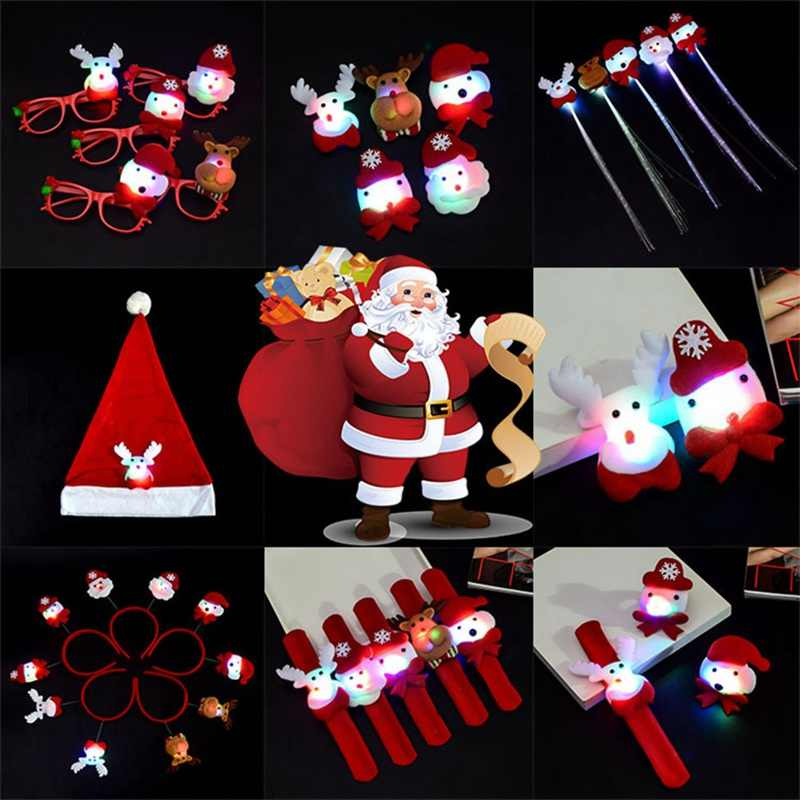 Snowman Bear Elk Santa Claus Sequins Night Light Bracelet Glasses Brooch Christmas Hat Christmas New Year Party Decoration Toys