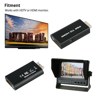 2Pcs PS2 to HDMI o Video Cable Converter Adapter with 3.5mm o Output Monitor