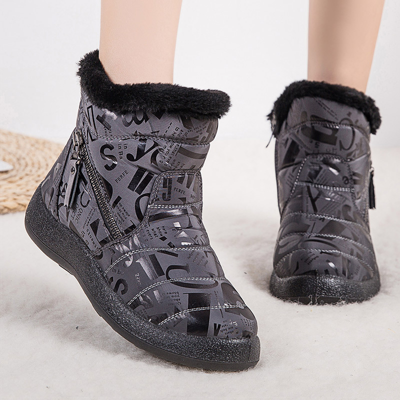 Women Boots 2020 Fashion Waterproof  Winter Shoes For Woman Snow Boots Zipper Winter Boots Low Heels Ankle Botas Mujer Plus Size