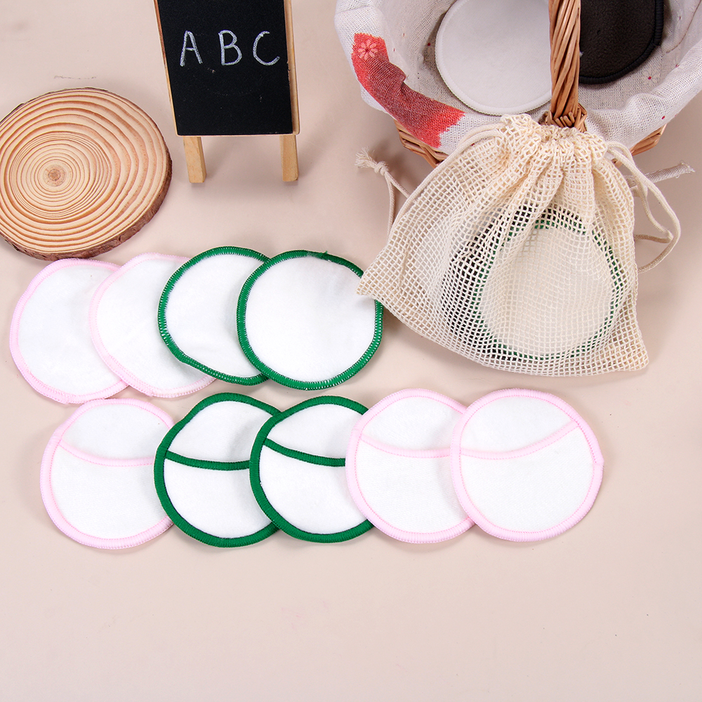 5Pcs/bag Reusable Bamboo Cotton Make Up Remover Pad Washable Rounds Facial Cleansing Pads Face Wipes Portable With Laundry Bag