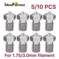 Boquilla DE ACERO INOXIDABLE V6, rosca M6 para filamento de 5/10/0,2/0,25/0,3/0,4/0,5/0,6mm, 3D cabezal de impresión para impresora, 0,8 Uds.