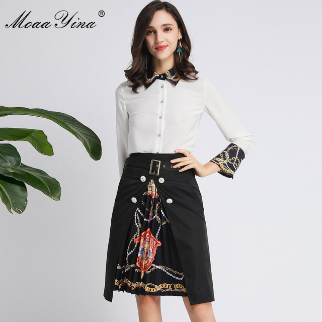 MoaaYina Fashion Designer Set Spring Autumn Women Long sleeve Beading Pearl Shirt Tops+Ruched Skirt Elegant Two piece set