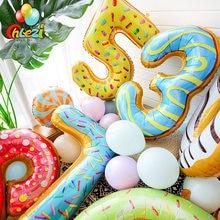 Globos de aluminio con número de Donut de 40 pulgadas para niños, decoraciones para fiesta de cumpleaños, juguete para niños