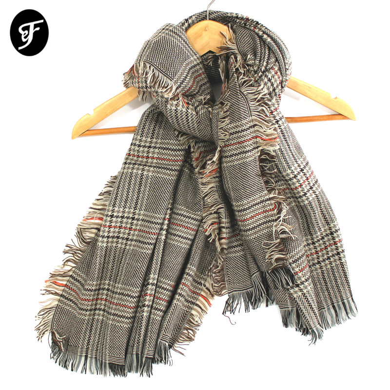 Women Blanket Plaid Tartan   Scarf     Wrap   Shawl Fashion Pashmina Winter Luxury Knitted Tassel Bufandas Mujer Houndstooth Female Hot