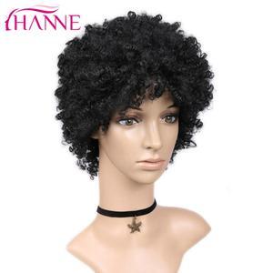 Image 3 - Hanne krótka brązowa naturalna peruka peruka z kręconych włosów typu Kinky peruka syntetyczna dla czarnej kobiety Cosplay afrykańskie fryzury peruki wysokotemperaturowe