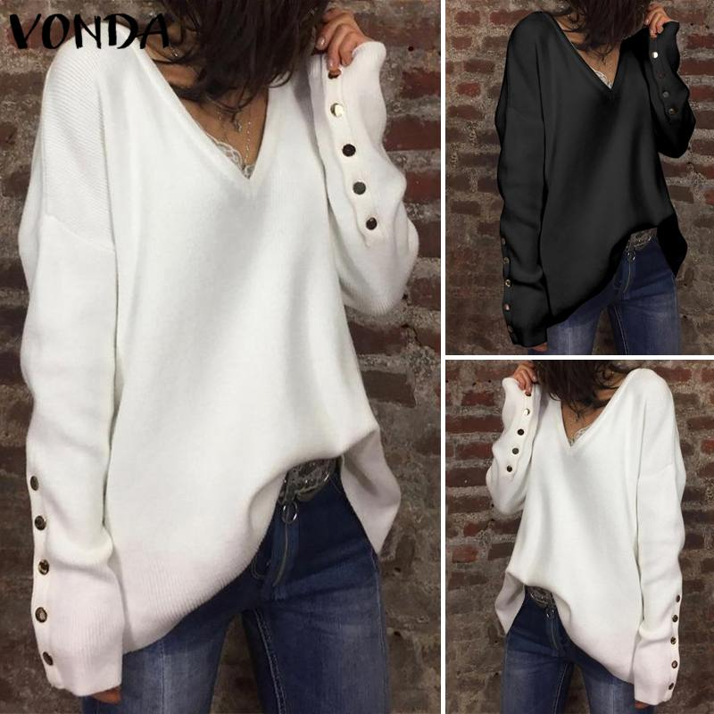 VONDA 2019 Autumn S-5XL Knitted Women's Sweater Button Soft Warm Long Sleeve Sweater Winter Women's Jumper Streetwear Pull Femme