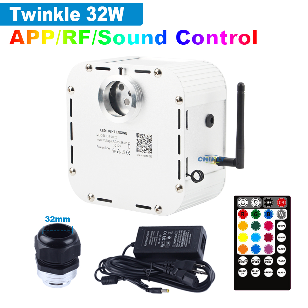 Music Control 32W Smart APP Control Twinkle 4 Level-speed RGBW Fiber Optic Engine Starry Sky Effect Ceiling LED Lights 2019 NEW