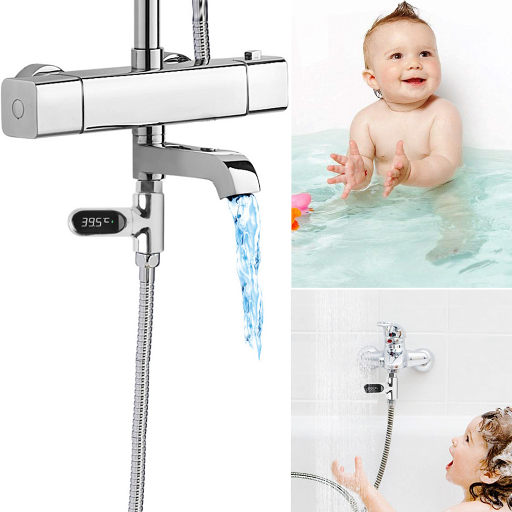 High LED Digital Thermometer Bathroom Shower Faucets 360 Rotate Real-Time Temperature Monitor UEJ