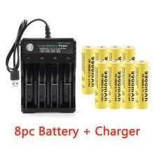 3,7 V 9900mah 18650 batterie GTF 18650 Batterie li-ion Batterie 2/4/8 stücke Batterie + 4 Slots 3,7 V 18650 USB ladegerät