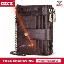 Бесплатная гравировка 100% кожаный Rfid кошелек для мужчин Crazy Horse портмоне Короткий Мужской держатель для карт с цепочкой портфель мужской кошелек