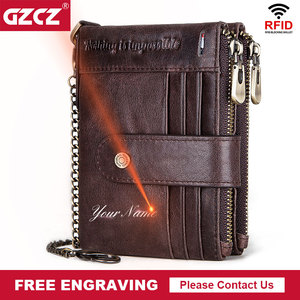 Image 1 - Free Engraving 100% Leather Rfid Wallet Men Crazy Horse Coin Purse Short Male Card Holder Chain PORTFOLIO Portomonee Male Walet