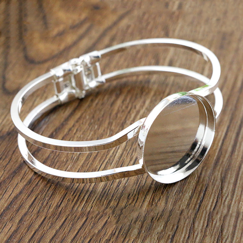 High Quality  25mm Silver Plated Bangle Base Bracelet Blank Findings Tray Bezel Setting Cabochon Cameo  (L6-16)