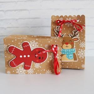 Image 2 - 8Pcsกระดาษคราฟท์กล่องกระดาษCandyของขวัญถุงChristmasของขวัญกล่อง 18.5*7*11.7 ซม.กล่องคริสต์มาสสำหรับคุกกี้Patyอุปกรณ์ตกแต่งบ้าน