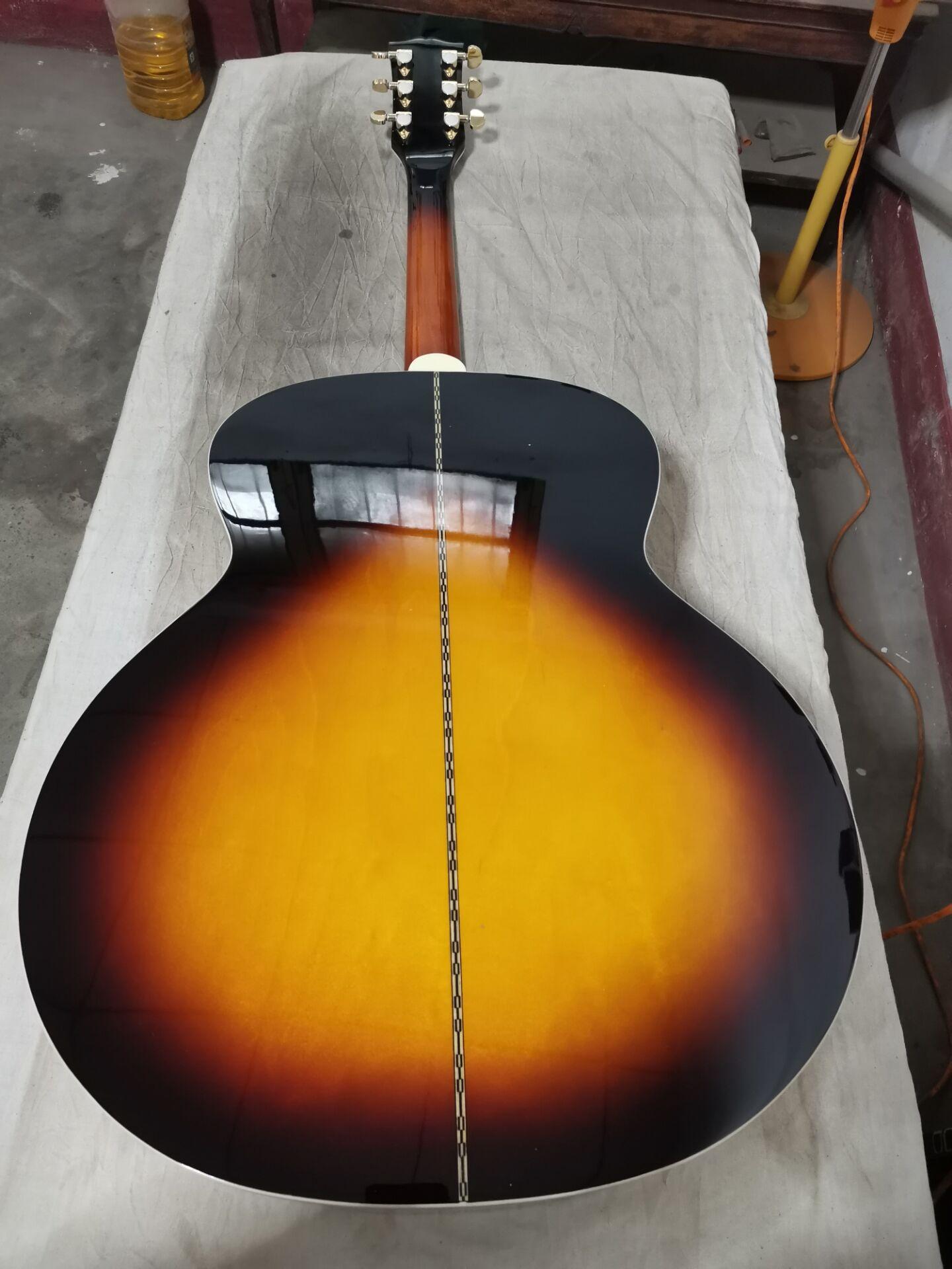 Бесплатная доставка sunburst гитара Джамбо тело 43 дюймов Акустическая электрическая гитара snon-cut Акустическая гитара