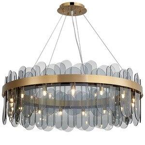 2019 nova luz simples e moderno de luxo vidro led pingente lâmpada quarto sala estar jantar luminária interior