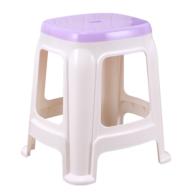 Plastic Stool Office Home Dining Chair Stool Commercial High Stool Toilet Bathroom Non-slip Thick Two-color Square Stool