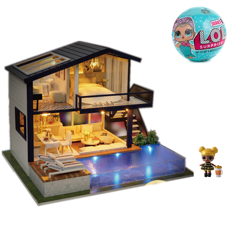Lol Surprise Doll House Toy Furniture DIY Miniature Action Figure 3D Light Wooden Play House Manual Wood Model Dollhouse Gift