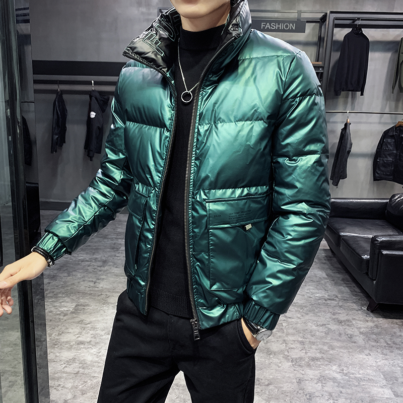 Green Bomber Jackts Man Winter Coats Down Puffer Jackets Fashion Snow Short Jacket Coat Winter Men Parka Thick  Mens Clothes