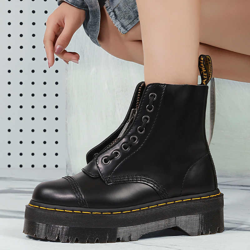 High quality leather riding boot female thick bottom cake bottom female models black fashion increased leather female ankle boot