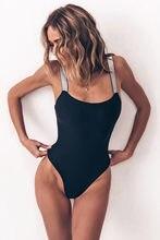 Bañador de una pieza para mujer, traje de baño Sexy de color negro liso con relleno de realce, traje con correa de lentejuelas de corte alto, Monokini, 2020