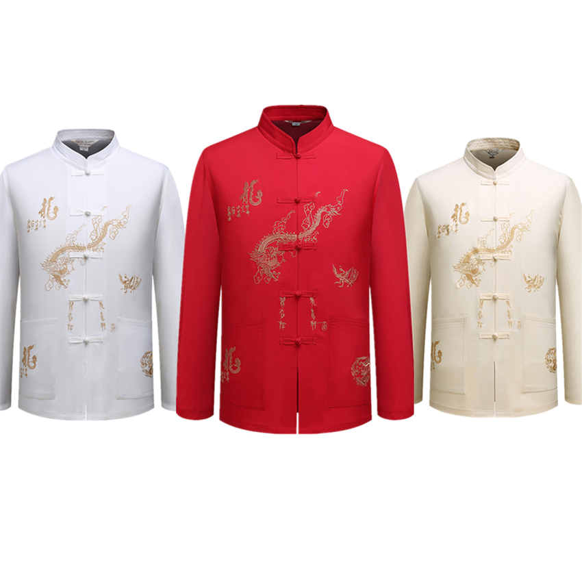 5Color Traditional Chinese Clothing For Mens Long Sleeve Tang Suit Embroidery Dragon Long Jacket Cheongsam Top Wear