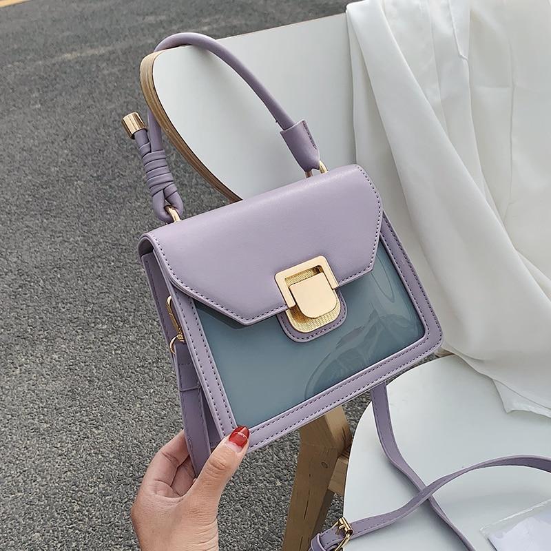Mini PU Leather Contrast Color Shoulder Messenger Bags Female Fashion Summer Travel Handbags Female Cute Totes