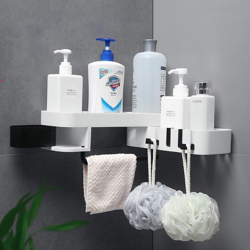 1PCS Corner Shower Rack Bathroom Shampoo Bracket Kitchen Storage Rack Storage Box Wall Mount WF9041001