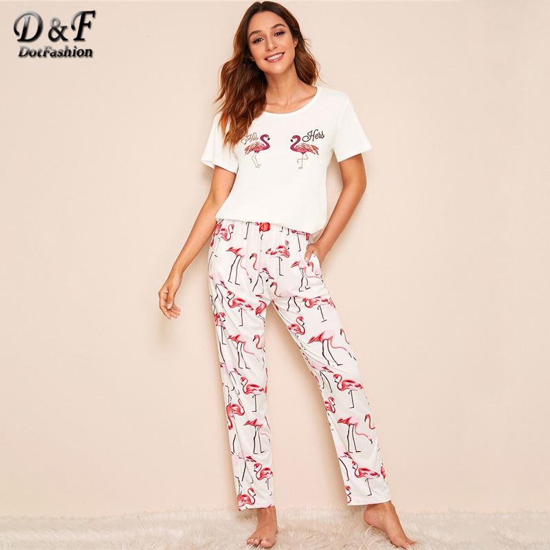 Dotfashion Animal Flamingo Print Pajama Set 2019 Summer Casual Short Sleeve Top Pajama Set Ladies Animal Print Loungewear