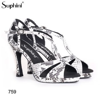 Free Shipping Suphini Snake Print Latin Dance Shoes Woman Prom Banquet Shoes