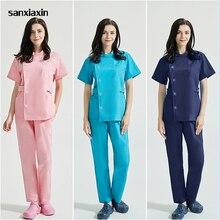 Scrubs uniform Suit beauty salon nursing uniform lab coat spa uniform pet shop women Work clothes scrub pantsSXX42005-1