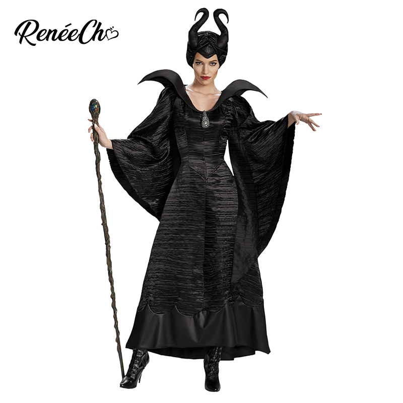 Reneecho Women Maleficent Costume Evil Witch Cosplay Outfit Halloween Costume For Adult Dress And Hat Suit Black Gown Costume