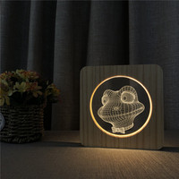 Flog 3D LED Arylic Wooden Night Lamp Table Light Switch Control Carving Lamp for Friends Birthday Party Fan's Gift Dropship