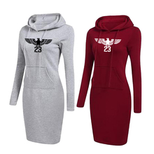 Women Hoodie Dress Long Sleeve Warm Printed Casual Sweatshirt for