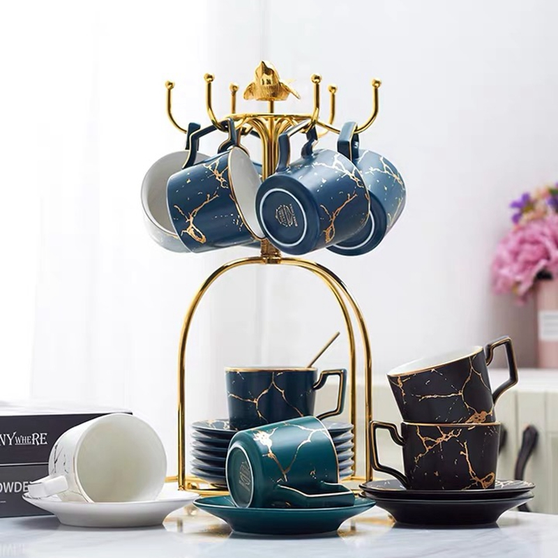 200 ml luxury marble ceramic coffee Cups and Saucers set with gold stand Home Decoration and Coffee Gift Set