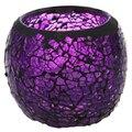 Декоративный хрустальный подсвечник ручной работы  фиолетовая черная окантовка