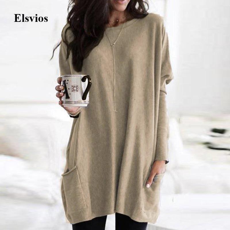 Elsvios 5XL Autumn Long Sleeve Mini Dress Women O-Neck Pocket Sweatshirt Dress Casual Loose Oversize Streetwear Solid Dresses