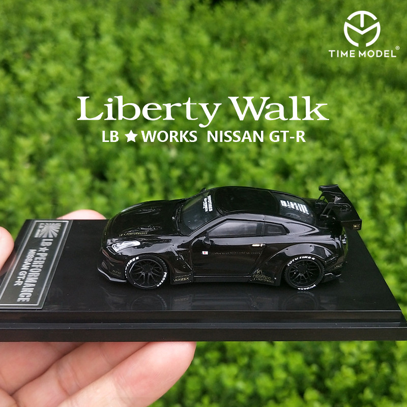 Time Model 1/64 Nissan GTR R35 Brilliant Black Liberty Walk Die-cast Toy 1:64 Model Car GT Vehicle With Show Box